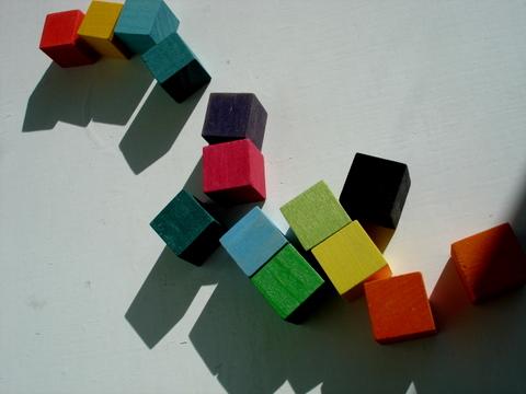 Colorfulwoodenchildrensblocksintensesunlight