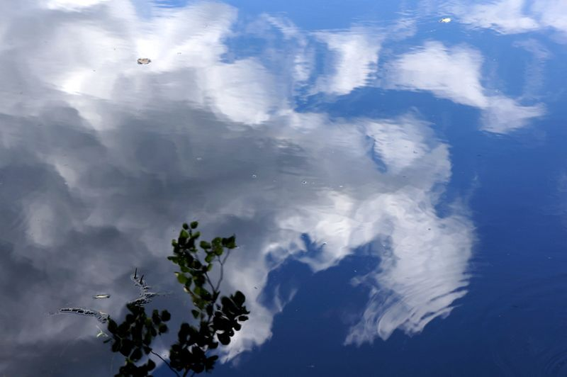 Sky-clouds-lake-reflection